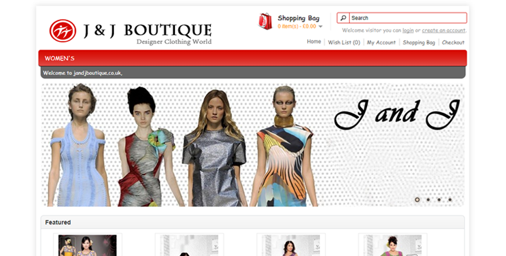 J&J Boutique UK web development Portfolio: Web Development JJ Boutique UK