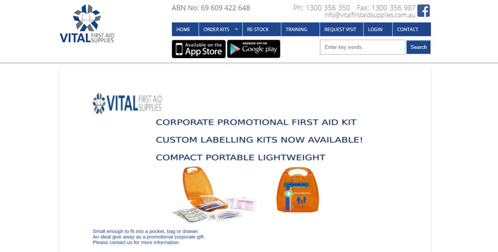 Vital First Aid Supplies web development Portfolio: Web Development vitalfirstaidsupplies